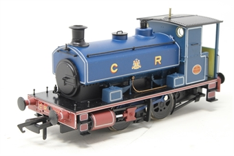 """H4-AB14-004-PO03 Andrew Barclay 0-4-0ST 14"""" 1863 in Caledonian Railway lined blue - Open box, missing paint from one crank pin, imperfect box"""
