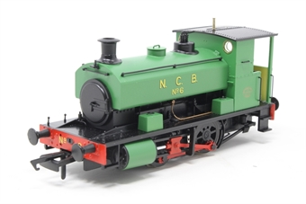 "H4-AB16-002-PO02 Andrew Barclay 0-4-0ST 16"" 2043 'No 6' in NCB green - Open box, minor chipped paint on copper pipes, minor glue marks on rear of cab  £93"