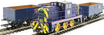H4-B-J-001 Janus bundle with 0-6-0 Janus diesel shunter in Allied Steel and Wire livery with three matching open wagons