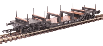 H4-WW-008 Warwell wagon 50t with diamond frame bogies KDE314159 in BR black with S&T branding and steel/rail carriers