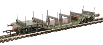 H4-WW-009 Warwell wagon 50t with diamond frame bogies DM721227 in BR Olive green with ELECTRIFICATION branding and steel/rail carriers
