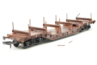 H4-WW-010-PO02 Warwell wagon 50t with diamond frame bogies DW160819 in BR brown with steel/rail carriers - weathered - Pre-owned - two stanchions loose  £22