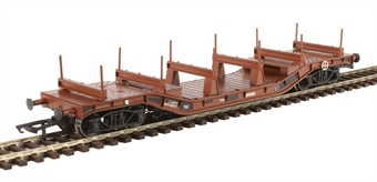 H4-WW-010 Warwell wagon 50t with diamond frame bogies DW160819 in BR brown with steel/rail carriers - weathered