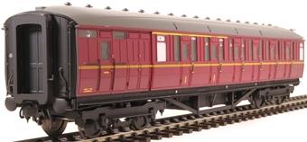 H7-TC175-005 Gresley Teak coach Diagram 175 Brake Corridor Composite unnumbered in BR maroon livery