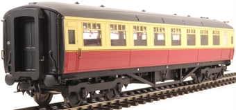 H7-TC186-003 Gresley Teak coach Diagram 186 Open Third unnumbered in BR carmine & cream livery