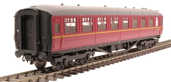 H7-TC186-006 Gresley Teak coach Diagram 186 Open Third E13372E in BR maroon livery