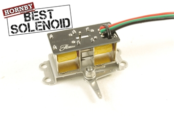 HAT-PM-01 Solenoid point motor including pin extension and 2-way arm for use with points and signals. Exclusive to Hatton's