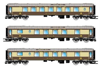 HN3502 Pack of three centre coaches for 5-BEL Brighton Belle in Pullman umber and cream