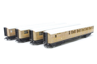 HORNBYCOACHBUNDLE-PO30 Bundle of four coaches in LNER Teak - Pre-owned - sold as seen - minor marks on roofs - replacement box