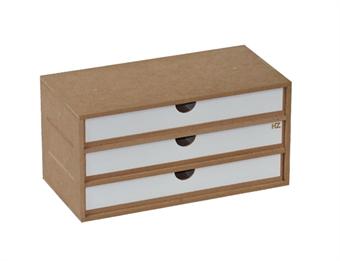 HZ-OM02a Modular Organizer flat drawers module x 3 - flat-pack kit