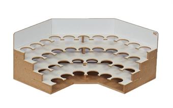 HZ-OM06b Modular Organizer corner paint shelves module - 36mm for Humbrol and Railmatch paints - flat-pack kit