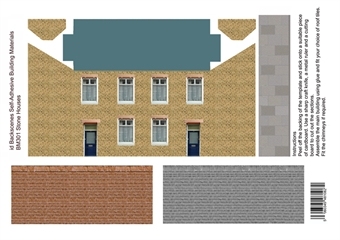 ID-BM301 Self-adhesive Low relief building kit - Dressed stone houses - Pack of four A4 sheets