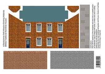ID-BM302 Self-adhesive Low relief building kit - Traditional brick houses - Pack of four A4 sheets