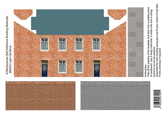 ID-BM303 Self-adhesive Low relief building kit - Light old brick houses - Pack of four A4 sheets