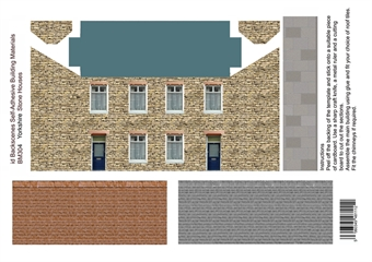 ID-BM304 Self-adhesive Low relief building kit - Yorkshire stone houses - Pack of four A4 sheets