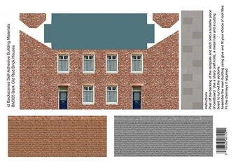 ID-BM305 Self-adhesive Low relief building kit - Dark old brick houses - Pack of four A4 sheets