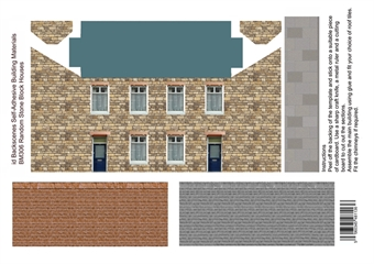 ID-BM306 Self-adhesive Low relief building kit - Random stone houses - Pack of four A4 sheets
