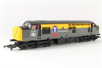 """L204700 Class 37 37201 """"Saint Margaret"""" in Transrail grey and yellow"""