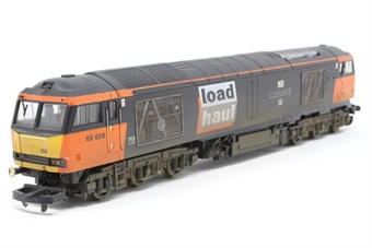 "L204736-PO Class 60 60008 ""Gypsum Queen II"" in Loadhaul livery - Pre-owned -  detailed with  etched nameplates and buffer beam pipework and lighting kit - weathered- loose chassis- damaged buffer beam- detached buffer- imperfect box"