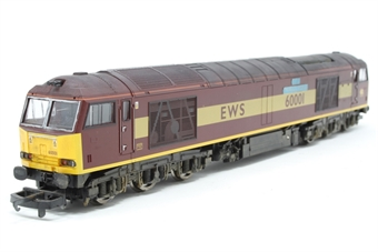 L204957-PO Class 60 60001 The Railway Observer in EWS livery - Pre-owned - weathered and detailed with etched nameplates- imperfect box