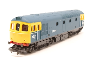 L205114b-PO11 Class 33 33024 in BR blue - Pre-owned - minor marks on body, wobbly runner, replacement box