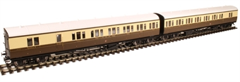 """LHT-608 Pair of two GWR 'B' set coaches in GWR chocolate and cream with roundel - """"Bristol Division Set 17"""""""
