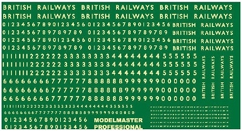 MM7031 Steam locomotive numbering transfer set for BR steam era - numbers and lettering