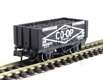 "NR-P110B 7-plank coal wagon ""Birmingham Co-op"" No. 39 £6"