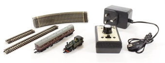 NSTEAM1 Train set with Class 14xx steam loco in BR late green, Autocoach in maroon, Gaugemaster Combi controller and oval of track £104