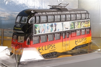 """OM43504-SD Blackpool Balloon d/deck tram No.704 in """"Eclipse"""" black/red/yellow Ad. livery - Pre-owned - half of pantograph broken away from roof  £16"""