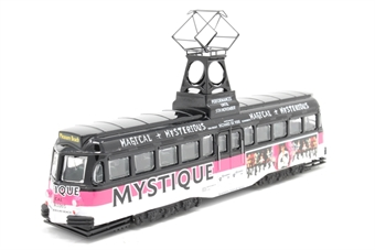 """OM44004-PO01 black/pink/white ad. livery Blackpool Brush Railcoach tramcar """"Mystique"""" - Pre-owned - Like new £17"""