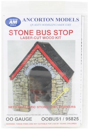 OOBUS1 Stone-built bus shelter - laser cut wood kit £8.50