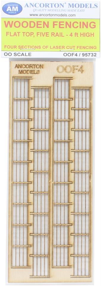 OOF4 Five rail wooden fencing - laser cut wood kit £7.50