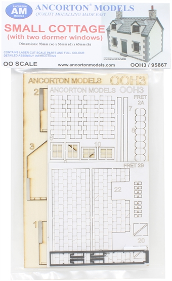 OOH3 Small cottage with two dormer windows - laser cut wood kit