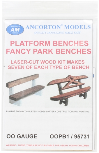 OOPB1 Park and platform benches - pack of fourteen- laser cut wood kit £7.50