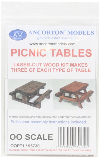 OOPT1 Picnic tables - pack of six- laser cut wood kit