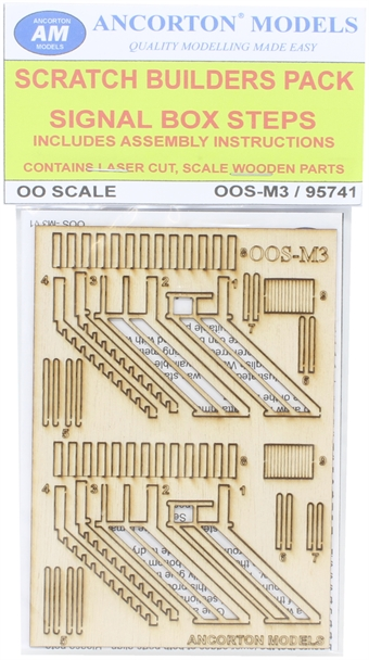 OOS-M3 Signal box wooden stairs with handrails - laser cut wood kit £6