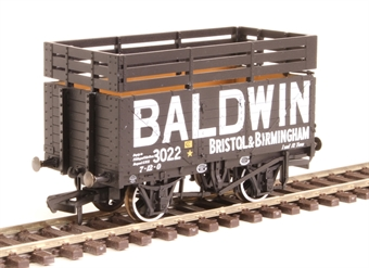 "OR76CK7006 7-plank open wagon ""Baldwin, Bristol and Birmingham"" with coke rails - black"