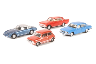 OR76CPK002 Pack of four assorted 1970s cars for Carflat wagons