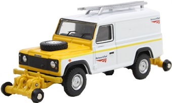 "OR76ROR002B Land Rover Defender 110 with posable rail wheels - ""Network Rail"" - non-motorised"