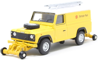 """OR76ROR003B Land Rover Defender 110 with posable rail wheels - """"British Rail"""" - non-motorised"""