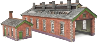 PN913 Double track brick-built engine shed and engineers workshop - card kit