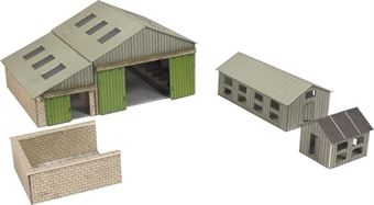 PN951 Manor farm buildings - barn, silo pit and hen huts - card kit