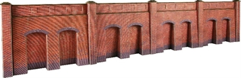 PO244 Retaining wall in red brick - 4 sections per pack - card kit