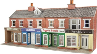 PO272 Terraced shop fronts - brick - 128 (w) x 73 (d) mm £12