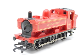 R048A-PO03 Class 57XX 0-6-0PT L90 in London Transport Red - Pre-owned - wobbly runner - missing buffer - marks on roof  - replacement box