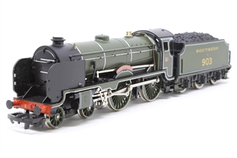 "R057-Schools-PO01 Schools Class 4-4-0 ""Charterhouse"" 903 in Maunsell Olive Green - Pre-owned - poor paint application on cab window frames, imperfect box"