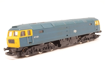 R075-PO17 Class 47 47421 in BR Blue - Pre-owned - missing coupling hooks - replacement box