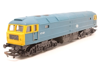 R075-PO19 Class 47 47421 in BR Blue - Pre-owned - replacement box