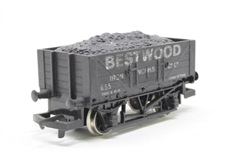R096-PO16 Bestwood 5 Plank Wagon 655 - Pre-owned - weathered, detailed with load, imperfect box